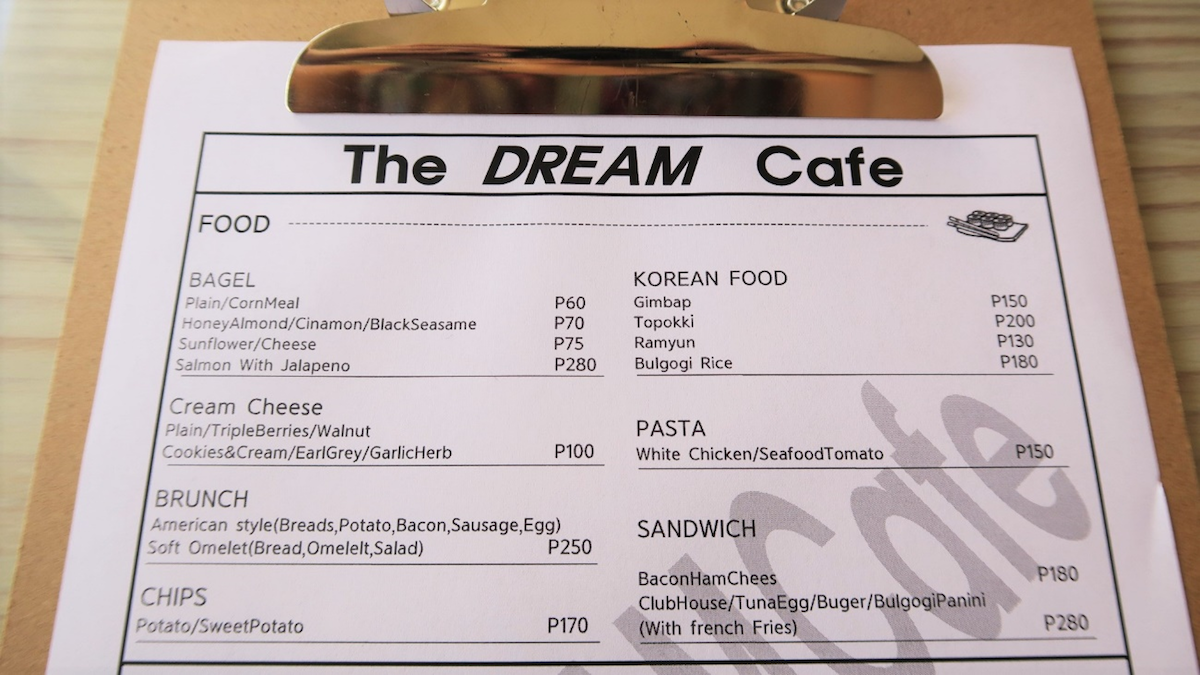 The dream cafeのメニュー